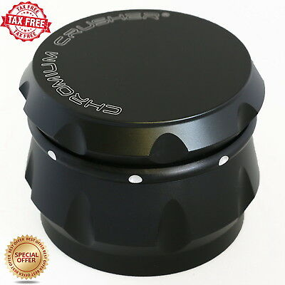 Chromium Crusher Drum 4 Piece Tobacco Crusher 2.5 Inch Spice Herb Grinder Black