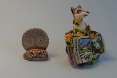 OOAK fox and book miniature Cottage Kitty