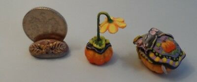 OOAK pumpkin bed and mice flower lamp miniature Cottage Kitty