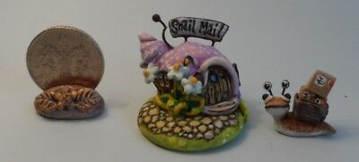 OOAK snail mail office with mail snail miniature Cottage Kitty