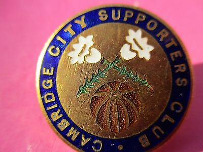 Vintage..cambridge City Supporters Club..blue & White Enamel Football Pin Badge