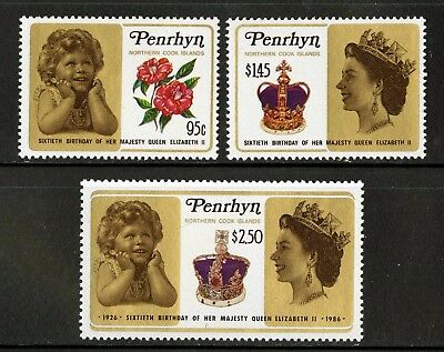 Penrhyn Islands   1986   Scott # 337-339    Mint Never Hinged Set