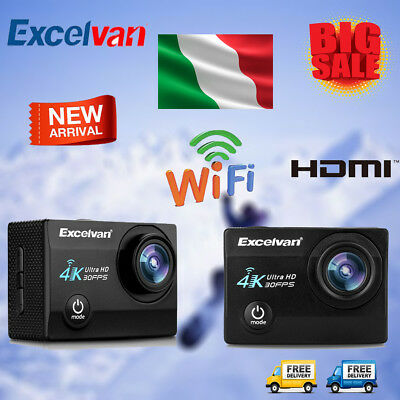 Excelvan Q8 PRO CAM 4K WIFI 16MP Ultra HD Action Camera Video DV 30M Subacquea