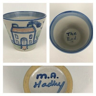 "M.A. Hadley 5"" Farm House Plant Flower Pot Bowl Country Scene Pattern Pottery"