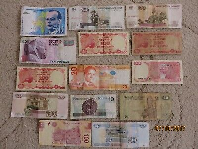 Collection Of 14 Unchecked World Banknotes