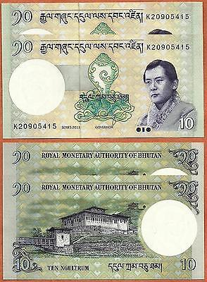 2 PCS  Bhutan 2013 GEM UNC 10 Ngultrum Banknote Paper Money Bill P-29b