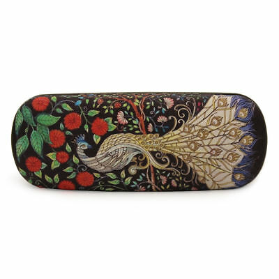 Retro Peacock Pattern Hard Glasses Clam Shell Style Case Faux Leather Black HOT