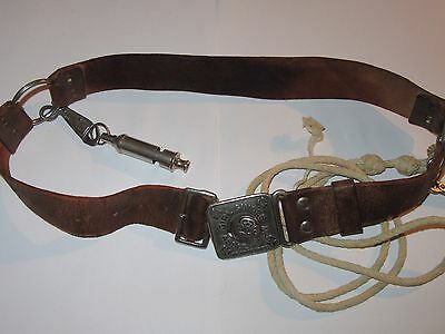 Vintage Leather Girl Guide Belt With Whistle And Lanyard