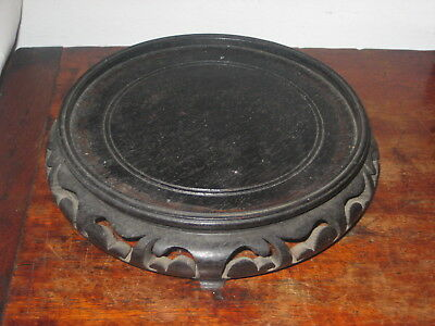 Large  Old Oriental Wooden Stand Carved Base