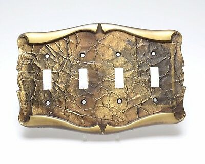 Metal Switchplate Cover for 4 Light Switches Victorian Style Leaf Texture Motif