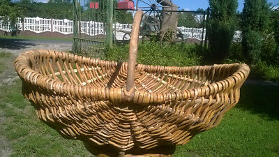 Vintage Woven Buttocks Basket With Oak Handle