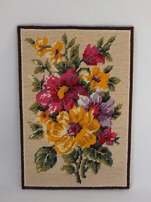 Vintage Completed Tapestry Needlepoint Floral Flowers Pink Yellow