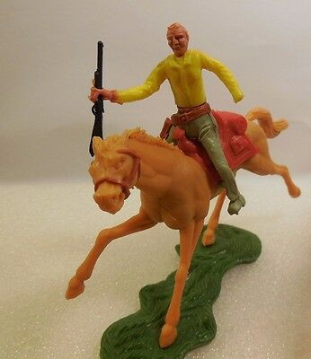 Cherilea 60mm Swoppet Wild West Mounted Cowboy on Horse Vintage Toy Soldier 1:32