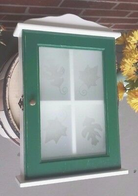 Vintage Small Wall Curio Cabinet With Frosted Leaf Door - Green And White
