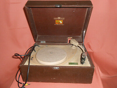 Small HMV Turn Table 3 Speed connects to radio Brown case 1950's spares/ repair