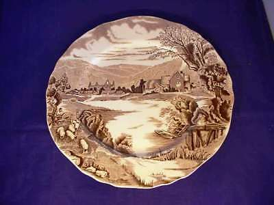 Vintage Alfred Meakin Tintern Abbey Dinner Plate Brown + White Transferware