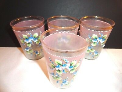 4 Antique Victorian Hand Blown/hand Painted Enamel Frosted Dainty Juice Glasses