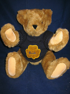 """VERMONT Teddy Bear 17"""" NOTRE DAME IRISH Tan Plush 2003 ~ NEW with TAG in BOX"""