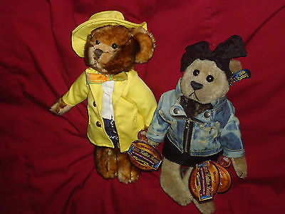 Lot of 2 Plush Brass Button Bears Roxy 1980s and Mookie 1930s NWT Denim Yellow