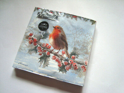 Macneil Christmas Robin Paper Napkins Serviettes 20 Per Pack 3 Ply