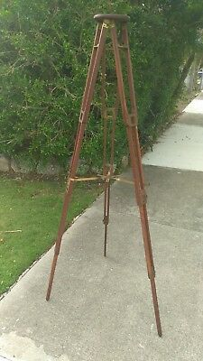 Old Vintage Photographic Tripod with Brass fittings and wood legs