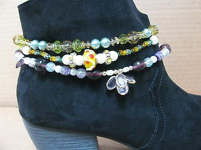 3 Diff Handmade Stretchy Cord Boot Bracelets Multicolors Jewelry Anklets Lot#2