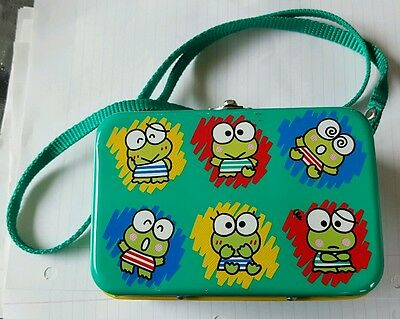 Sanrio Keroppi Frog Metal Tin Case lunch Box Shoulder strap Vintage Hello Kitty