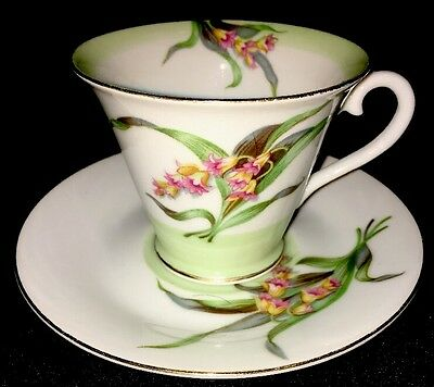 Diamond China Made in Occupied Japan Green Leaves and Flowers