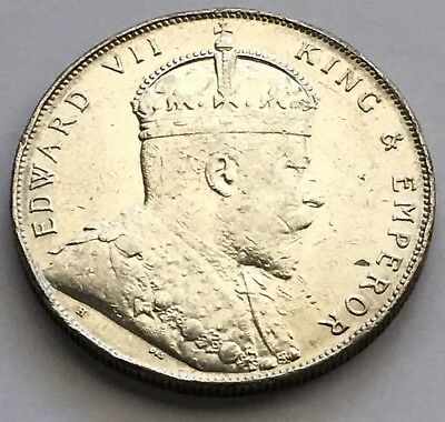 1907 Straits Settlements $1 One Dollar Silver Coin (L443)