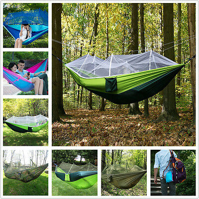 Portable Travel Camping Hiking Strong Hammock Mosquito Net Outdoors Hanging Bed