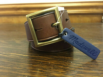 Madewell Square Buckle Leather Belt Extra Small e2215 Brown NWT Swag XS