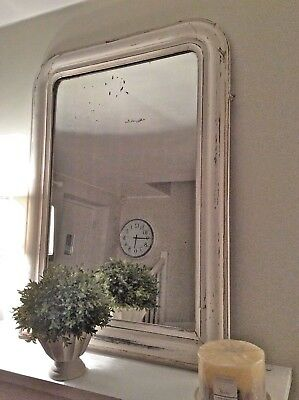 French Antique Wooden/Gesso work Ivory Mirror Architectural