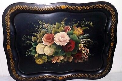 "Gorgeous Large Antique 22"" Toleware Tole Hand Painted Metal Tray FLORAL FLOWERS"