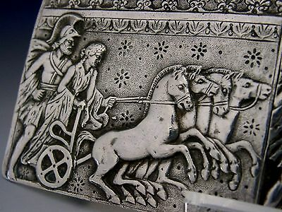 BEAUTIFUL SOLID SILVER ROMAN CHARIOT BELT BUCKLE c1900 ANTIQUE