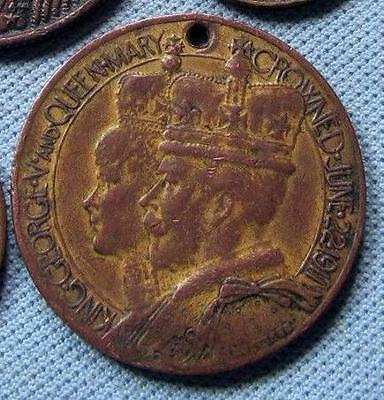 King George V & Queen Mary 1911 Coronation Gilt Medal Fob - Borough Of Walsall