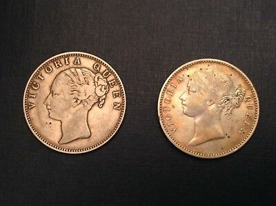 - 1840 East India Company Victoria silver Rupees Type I & II - 2 Coin Collection
