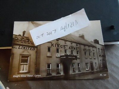 larne postcard antrim ireland real photograph kings arms  hotel  m197