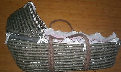 Baby girl Badger/Moses basket, with linens, easy clean padding, detachable hood