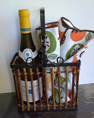 Wine Holder Basket Holds 2 Bottles Made of Metal & Wicker