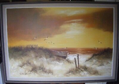 LARGE Vintage Retro Oil Painting Signed Orange Seascape Sunset Boat 27' x 39'