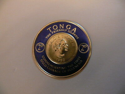 A TONGA Commemorative The First Gold Coinage of Polynesia Stamp. 1962
