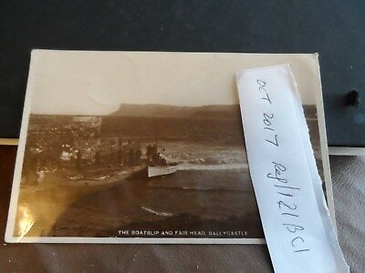postcard . ireland boatslip and fair head ballycastle co. antrim  p/u 1935
