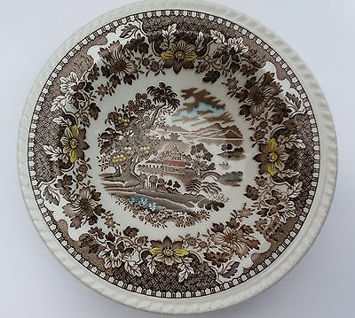 2 Woods Burslem Transferware Seaforth Brown Dessert Bowls - Hand Painted Detail