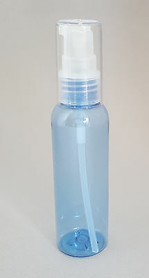 5 Travel Size LOTION PUMP Dispensing Bottles 2oz ~ Refillable ~ LIGHT BLUE PET