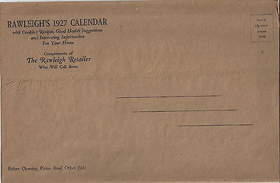 Rawleigh's 1927 Calendar With Mailing Sleeve,cooking Recipes,health Suggestions