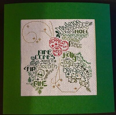 Completed Cross Stitch Extra Large Christmas Card - Holly