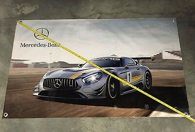Mercedes Benz race car banner silver poster sls amg model kit toy grill tool hot