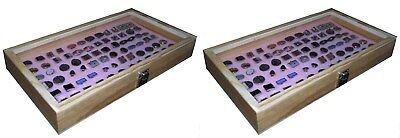 2 Natural Wood Glass Top Lid Pink Cufflinks Jewelry Display Storage Box Cases