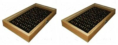 2 Natural Wood Glass Top Lid Black 144 Ring Jewelry Display Storage Box Cases