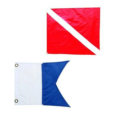 2x Diver-Down Boat Flag, Red & Blue Vinyl Dive Flag Scuba, Snorkeling